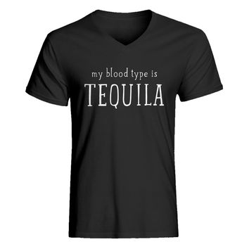 Mens My Blood Type is Tequila V-Neck T-shirt