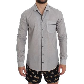 Dolce & Gabbana White Brown Cotton Pajama Shirt Sleepwear