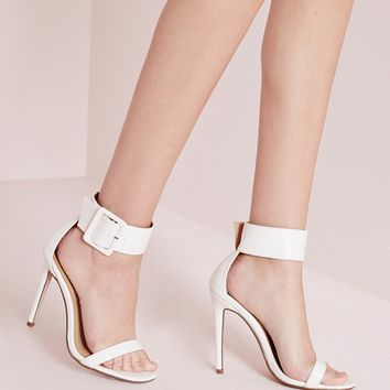 Missguided - Buckle Trim Barely There Heeled Sandals White