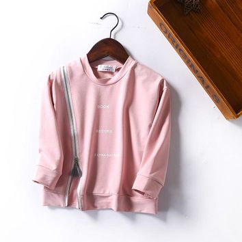 Autumn Winter Casual Cute Girls T Shirt Velvet Cotton Tops Tees  Baby Shirt Children Clothing Letter Zipper Blusas Pink Full