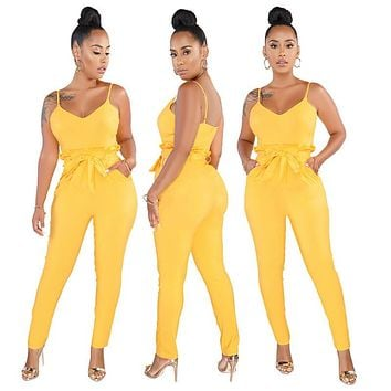 Spaghetti Straps Bow Pocket Jumpsuit