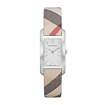 Burberry The Pioneer White Gold Dial Rectangular Swiss Quartz Women's Watch