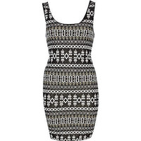 black print sleeveless lurex jacquard dress