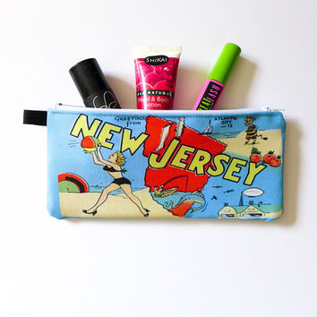 New Jersey Shore Zipper Pouch, Summer Fun Cosmetic Bag, Retro Postcard Toiletries Bag, Accessories Case for Sunglasses, Beachy Makeup Bag