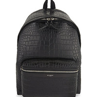 Croc-embossed leather backpack