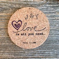 Coasters, Wedding Favors, 150 Party Favors, Personalized Wedding Favor, Bridal Shower Favors, Wedding Gift, Love Is All You Need Gift