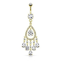 Tear Drop Chandelier CZ Deluxe Dangle Belly Button Ring 14kt Gold Plated 14g Navel Ring (14k Plated Gold Chandelier)
