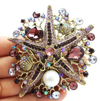 Authentic Lenora CZ Rhinestone Crystal Encrusted Handmade Amethyst Starfish Decorative Collector's Bouquet Brooch - Free Shipping