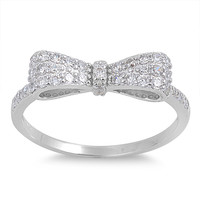 925 Sterling Silver CZ Ribbon of Hope Ring 5MM