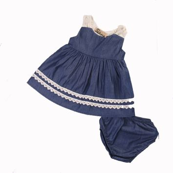 0-18M 2 PCS Summer Toddler Kids Baby Girls Lace Tutu Sleeveless Dress Princess Party Pageant Beach Dresses