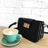 Faux Leather Turnlock Crossbody