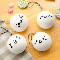 New Arrival High Quality Cute Cartoon Face Squishy Buns  Bag Key Mobile Phone Straps Pendant 4cm Chain Cellphone Hot Sale