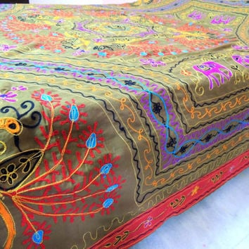 Indian bedding / Embroidered bedcover / Kutch embroidery bedspread / Peacock bedding /  Golden aari work bedspread
