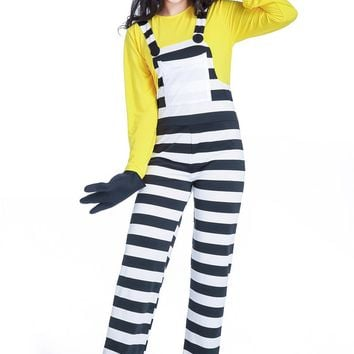 MOONIGHT Halloween Minions Costume Prisoner Uniform for Women Disfraces Cosplay