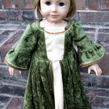 18 Doll Green Velvet Medieval Dress by ChellysShoppe on Etsy