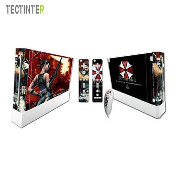 Resident Evil Style For Nintend Wii Console Vinyl Skin Sticker Cover with 2pcs Controller Decal For Wii Controle Gamepad Joypad