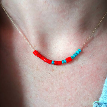 Handmade Vintage African Trade Bead Venetian Glass Turquoise Red Delicate Necklace & 14k Gold Fill or 925 Sterling Silver Chain Personalized