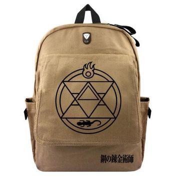 Anime Backpack School New kawaii cute Fullmetal Alchemist Backpack Schoolbag Cartoon Cosplay Canvas Shoulder Laptop Travel Bag Knapsack Gift AT_60_4