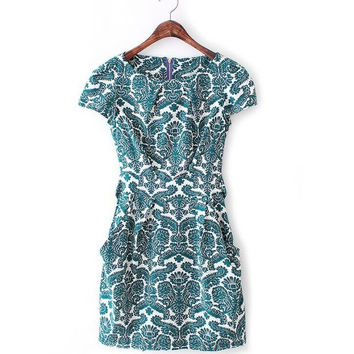 Summer Palace Print Short Sleeve Slim Round-neck Skirt One Piece Dress [4917856964]