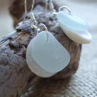 BEACH EARRINGS...Scottish sea glass and shell earrings, shells cradle sea glass earrings, shells and sea glass earrings, beachy earrings