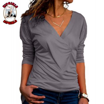 New fashion solid color long sleeve top women Gray