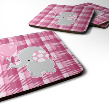 Elephant with Pink Balloon Foam Coaster Set of 4 BB6948FC