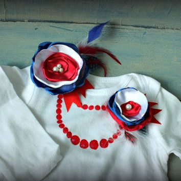 Handpainted Necklace Onesuit with Matching Pin and Hair Clip (6-12m) 4th of July Red White and Blue