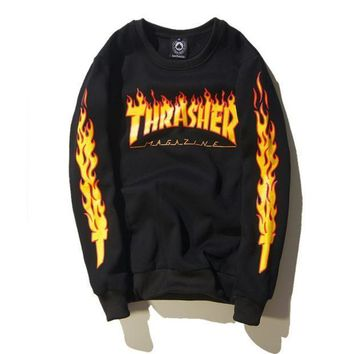 Thrasher new autumn and winter Couple flame jacket plus velvet sweater men and women F