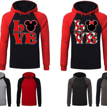 Mickey Minnie Love Couple Matching Love Set Raglan Hoodie