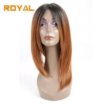 DCCKWJ7 RoyaL Short 100%Human Hair Brazilian Straight Hair Bob Wig For Black Women1b/30 Ombre Color Non-Remy Hair