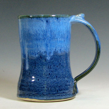 Coffee mug, beer tankard stein cup ceramic, glazed in sapphire blue, handmade stoneware by hughes pottery