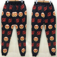 Emoji jogger pants In Love with the hundreds from Kno Idea Vintage & Custom