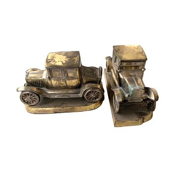 Antique Brass Old Ford Automobile Bookends