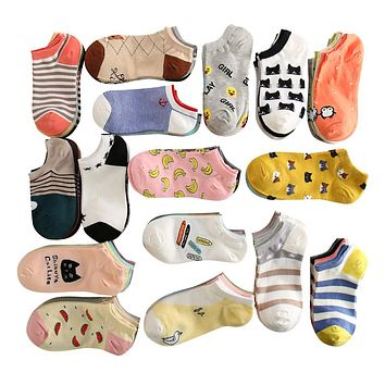 summer women cute cartoon cat pattern ankle socks female fashion invisible cotton socks ladies boat socks 10pcs=5pairs/lot