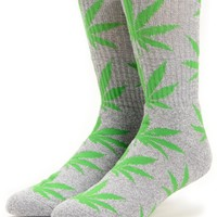 HUF Plantlife Grey & Green Crew Socks
