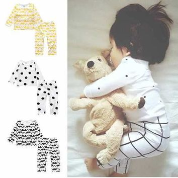 Printed Baby Boys Girls Pajamas Set