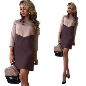 Vestidos Plus Size 2016 Women Sexy Casual Patchwork Mini Dress Autumn Winter O-Neck Three Quarter Sleeve Bodycon Dress GV397