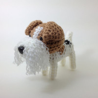 Wire Fox Terrier Amigurumi Stuffed Animal Crochet Puppy Plush Doll / Made to Order