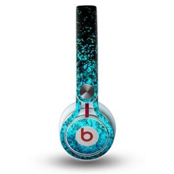 The Black and Turquoise Unfocused Sparkle Print Skin for the Beats by Dre Mixr Headphones