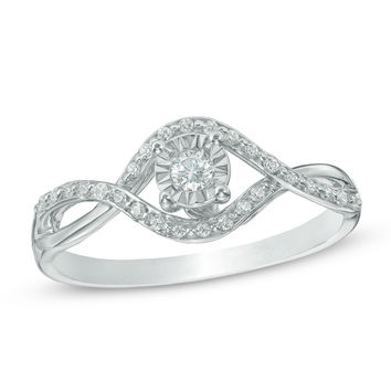 1/6 CT. T.W. Diamond Bypass Promise Ring in 10K White Gold