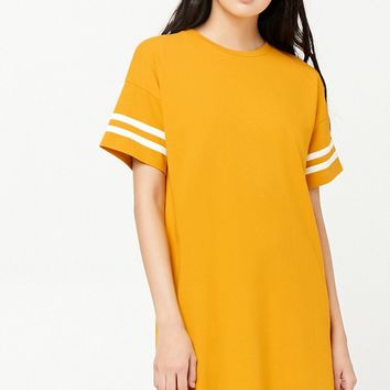Striped-Sleeve T-Shirt Dress