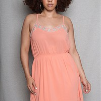 ToTo Collection Chiffon Plus-Size Slip Dress With Embroidered Aztec Details - Peach