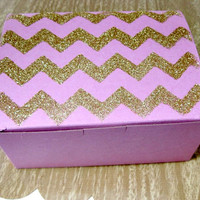 Pink & Gold Glitter Chevron Bakery/Pastry/Favor Boxes - as featured on the Amy Atlas blog