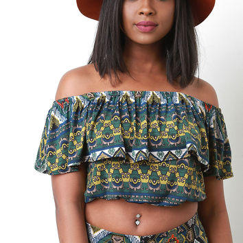 Ethnic Print Ruffle Off The Shoulder Top