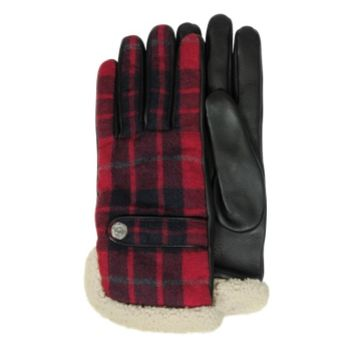 DSquared2 Designer Men's Gloves Wool Leather and Shearling Men's Gloves w/Cashmere Lining