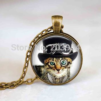 Steampunk mens cat hat monocle and goggles Necklace Cabochon 1pcs/lot alice in wonderland charms Pendant vintage silver jewelry