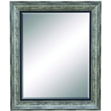 Beveled Mirror With Dull Grey Finish Frame