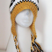 Hand Knit Womens & Mens Hat - Mizzou Tigers Hat - Mustard Yellow, Black, White - monogrammed
