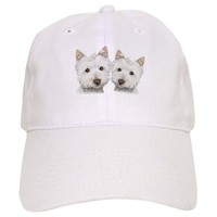 TWO CUTE WEST HIGHLAND WHITE DOGS BASEBALL CAP