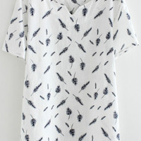 White Feather Print V-Neck Short Sleeve T-Shirt